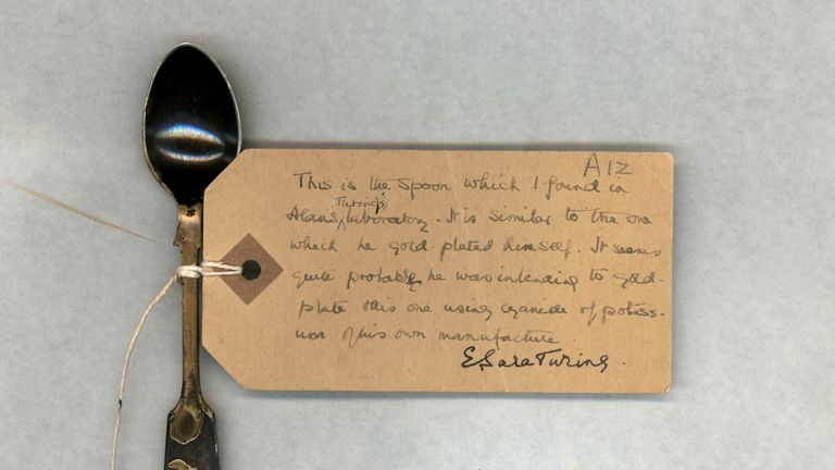 A teaspoon taken from the Alan Turing's home after his death in 1954 from cyanide poisoning