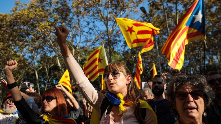Pro-independence supporters rally outside Catalonia's parliament in Barcelona