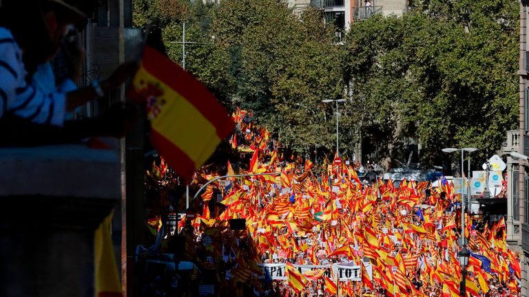 The protest was organised by 'Societat Civil Catalana' (Catalan Civil Society) to support the Spanish unity