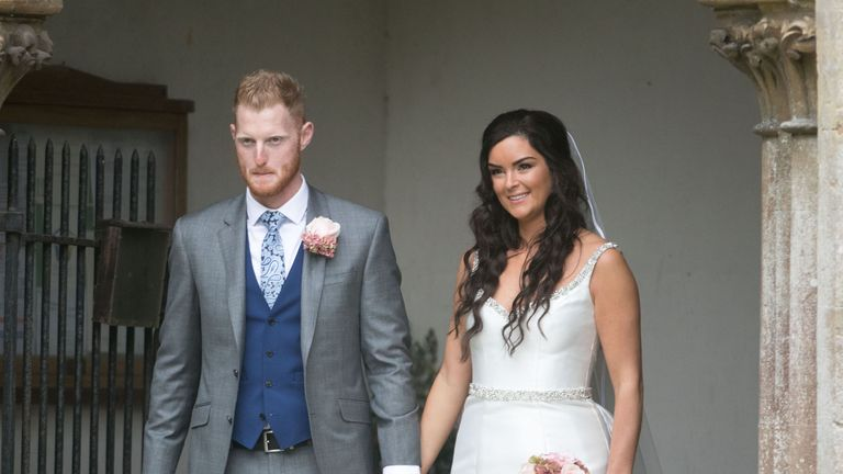 England all-rounder Ben Stokes wedding. PRESS ASSOCIATION Photo. Picture date: Saturday October 14, 2017. See PA story SPORT Stokes. Photo credit should read: Steve Parsons/PA Wire