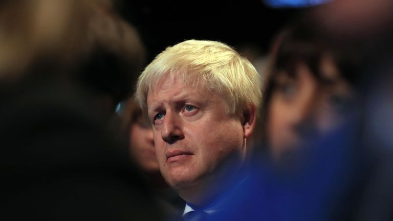 Foreign Secretary Boris Johnson at the Conservative party conference in Manchester