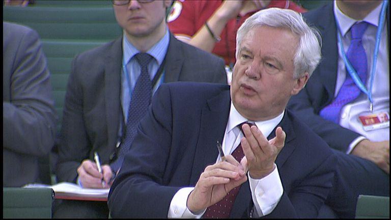 Brexit Secretary David Davis address committee exiting the EU