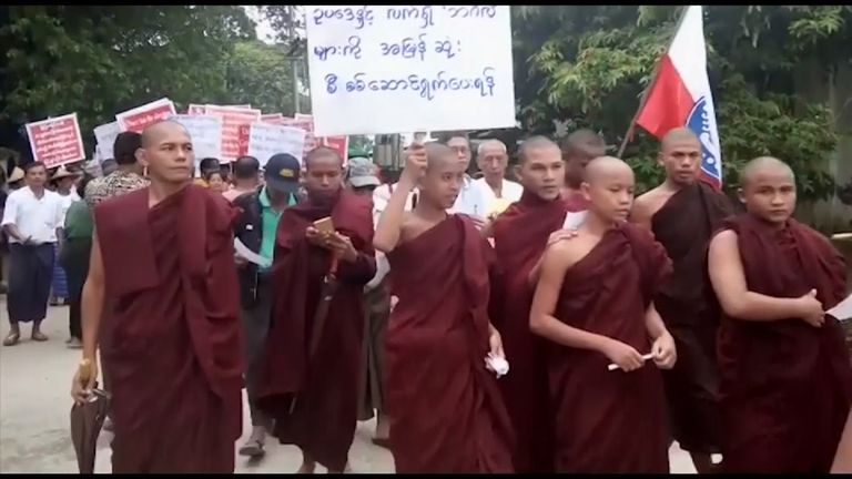 Buddhists protest in Myanmar