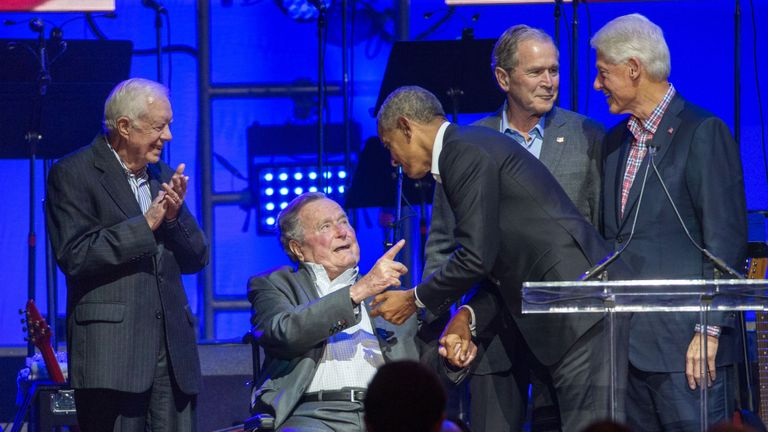 Barack Obama and George H.W. Bush shook hands at a fundraiser last week