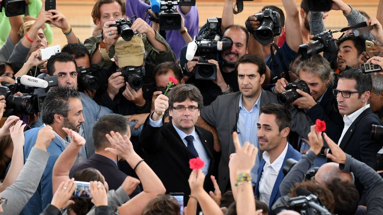 Catalonia President Carles Puigdemont was defiant after his local polling station was closed down