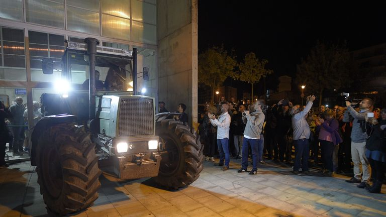 Farmers are blocking entrances to some polling stations to stop police taking them over