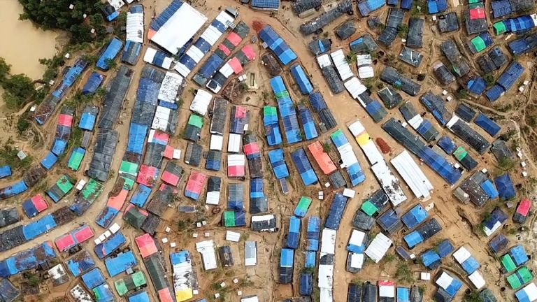Kutupulong refugee camp, near Cox's Bazar, Bangladesh, is a mosaic of tarpaulin tents