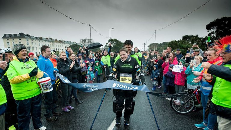 Paralysed woman Claire Lomas completes Great South Run in