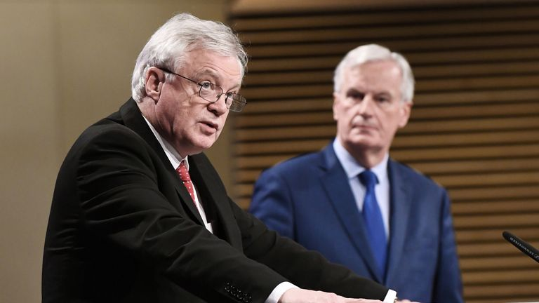 British Secretary of State for Exiting the European Union (Brexit Minister) David Davis (L) and European Union Chief Negotiator in charge of Brexit negotiations with Britain Michel Barnier (R)