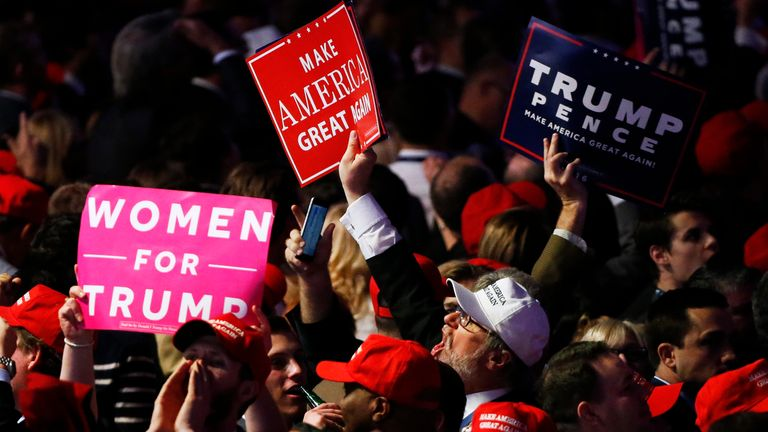 Supporters cheer as returns come in for Donald Trump during election night  in November 2016