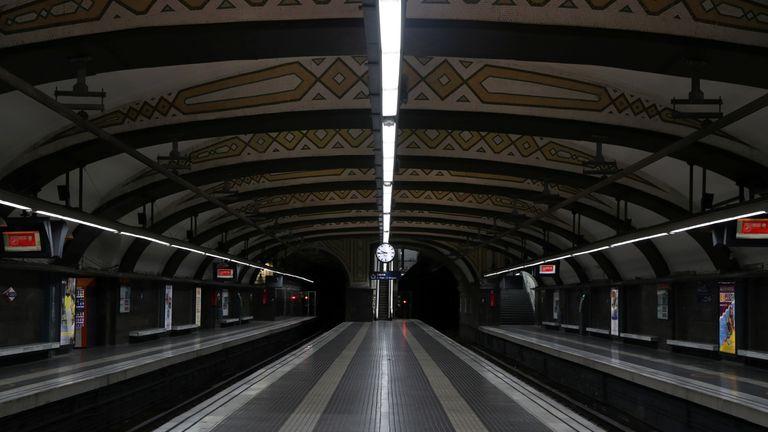 Empty metro station in Barcelona