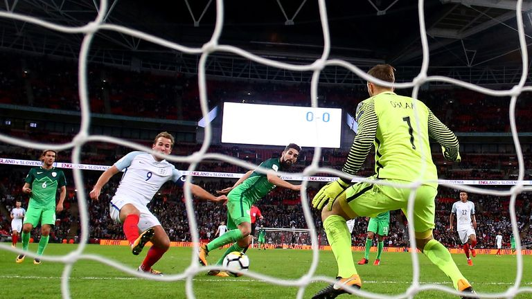 Harry Kane scores the winner for England against Slovenia