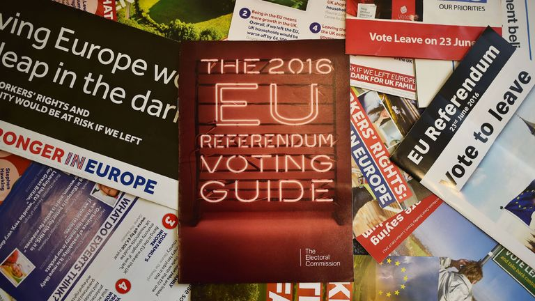 Leaflets delivered recently to British households, relating to the forthcoming European Union (EU) referendum, are arranged for a photograph in London on May 31, 2016. Money is at the heart of many a battle, and the June 23, 2016 referendum on whether Britain should stay in the European Union or quit is no exception. Voters are being hit with a blizzard of statistics from the 'Remain' and 'Leave' camps, often produced selectively to boost their side of the argument.