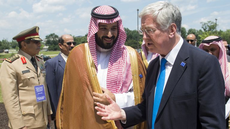Crown Prince Mohammed bin Salman and British Defense Secretary Michael Fallon in 2016