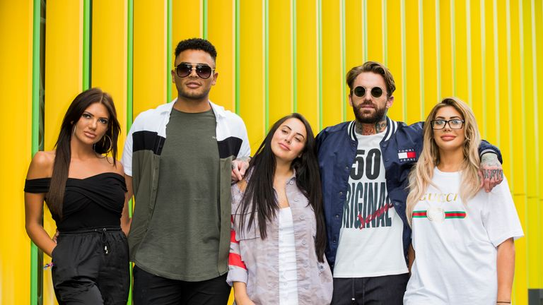LONDON, ENGLAND - AUGUST 29: Abbie Holborn, Nathan Henry, Marnie Simpson, Aaron Chalmers and Chloe Ferry attend the Geordie Shore series 15 premiere photocall at MTV London on August 29, 2017 in London, England. (Photo by Tristan Fewings/Getty Images)