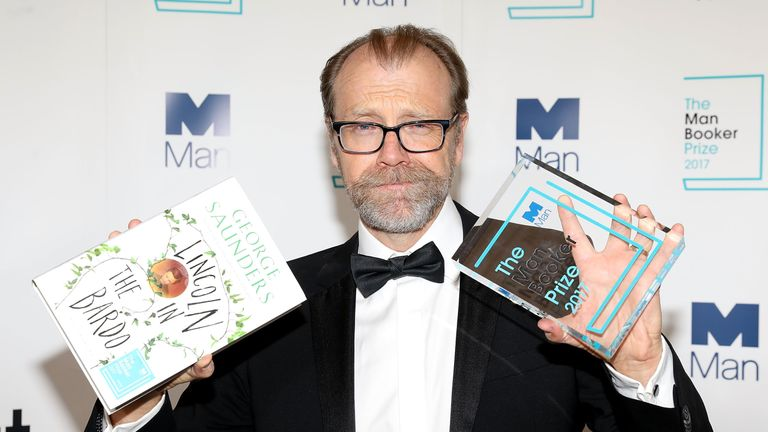 Winning author George Saunders during the Man Booker Prize winner announcement