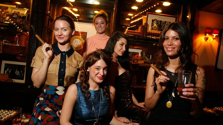 NEW YORK, NY - APRIL 14: (L-R) Tanya Fischer, Ashley Stanton, Megan Miller, Lynne Marie Volk and Dawn Dunning attend the Creative Coalition & friends celebration of the Broadway show 'Born Yesterday' at the Nat Sherman Flagship Store on April 14, 2011 in New York City. (Photo by Andy Kropa/Getty Images)