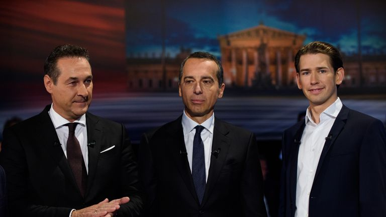 Heinz-Christian Strache of the right-wing Austrian Freedom Party (FPOe), Austrian Chancellor Christian Kern of the Social Democratic Party (SPOe) and Austrian Foreign Minister Sebastian Kurz of Austrian Peoples Party (OeVP) are seen at ORF studios ahead the 'Elefantenrunde' television debate between the lead candidates prior to legislative elections on October 12, 2017 in Vienna, Austria. Austria will hold elections on October 15 and many analysts are predicting a win for the conservative Austri