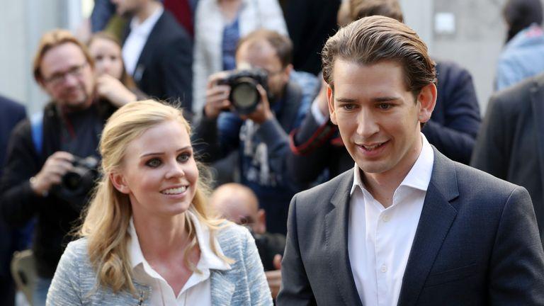 Austrian People's Party leader Sebastian Kurz with his girlfriend Susanne Thier