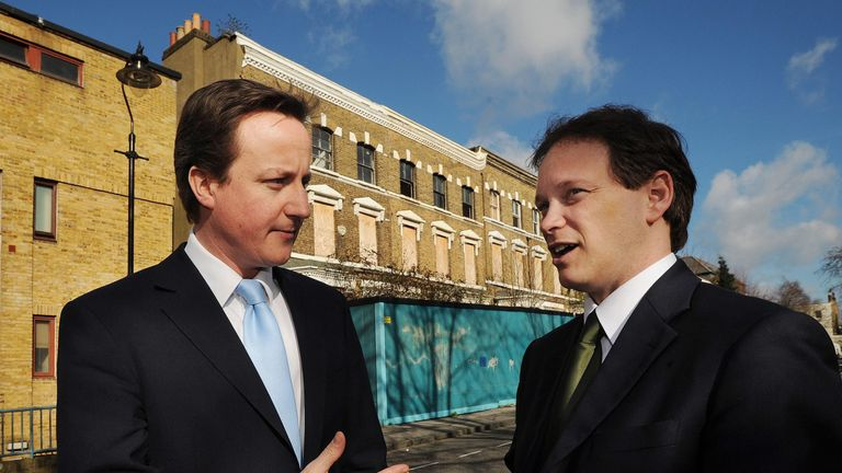 Conservative Leader David Cameron (left) with Shadow Housing Minister Grant Shapps in Windsor Walk, Camberwell, London.