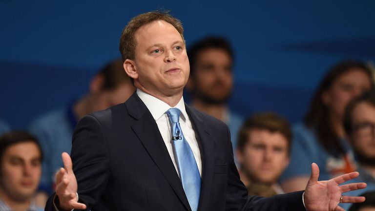 Conservative Party Chairman Grant Shapps addresses the room during the Conservative Party annual conference 2014 at the ICC in Birmingham.