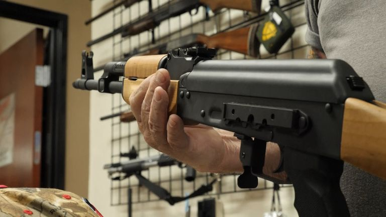 An AK47 assault rifle on sale in a gun shop in Las Vegas