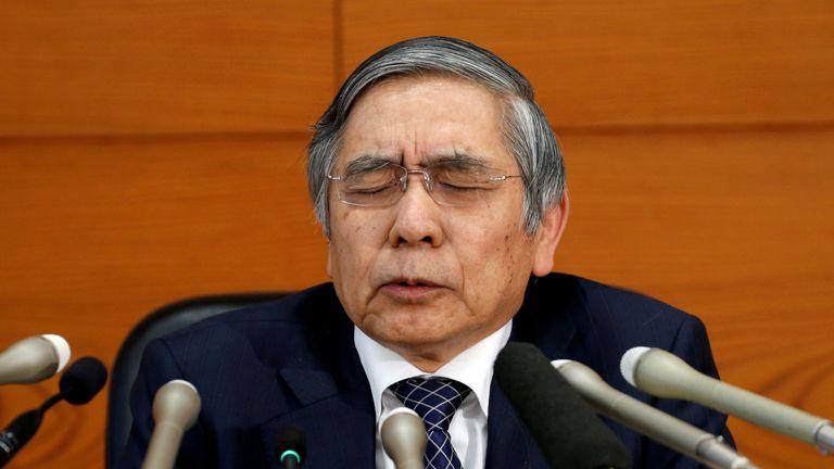 Haruhiko Kuroda attends a news conference in Tokyo