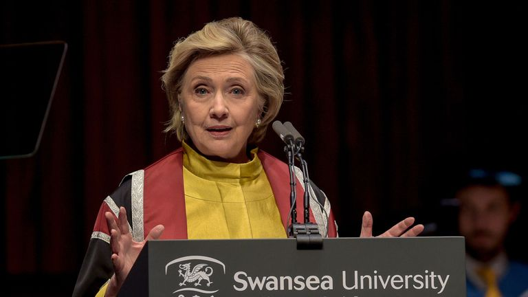 Hillary Clinton gives a speech as she receives a Honorary Doctorate at Swansea University