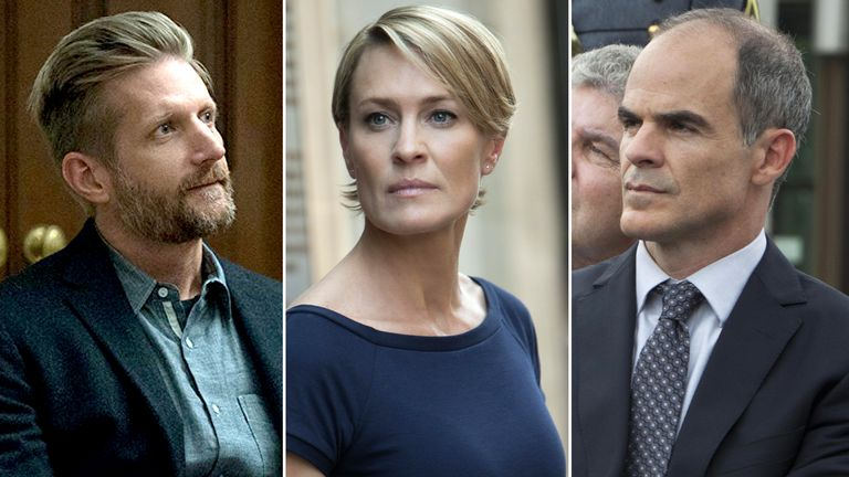 Paul Sparks, Robin Wright and Michael Kelly. Pic: Netflix/ Rex Shutterstock
