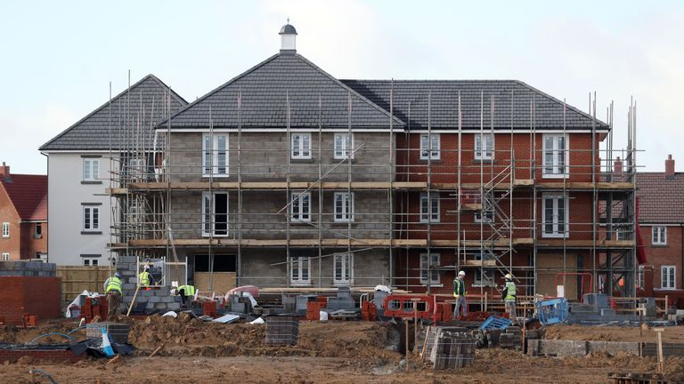 Houses under construction on a new housing development
