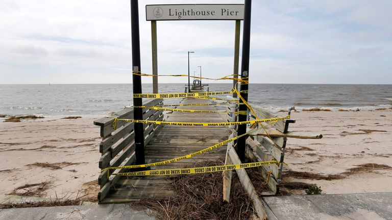 The damaged Lighthouse Pier in Biloxi, Mississippi