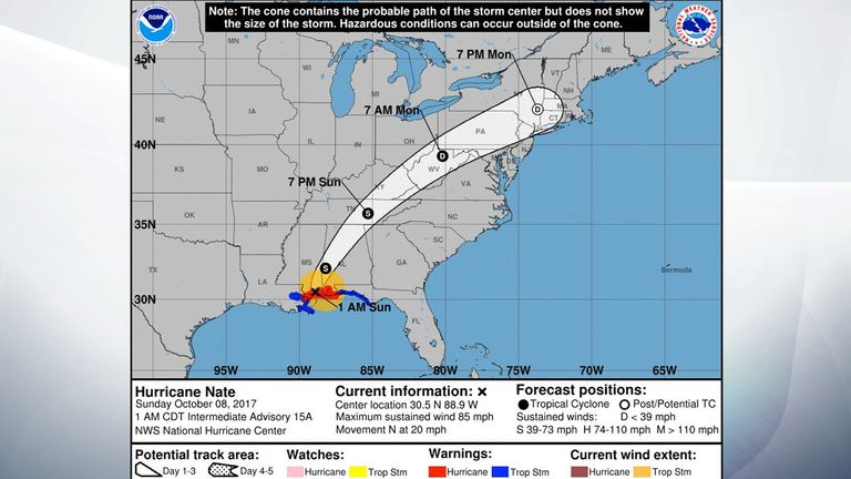 The path the hurricane is expected to take over the next few days. Pic: NOAA