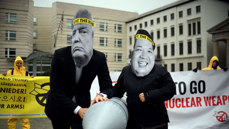 ICAN activists protested at North Korea's German embassy in September