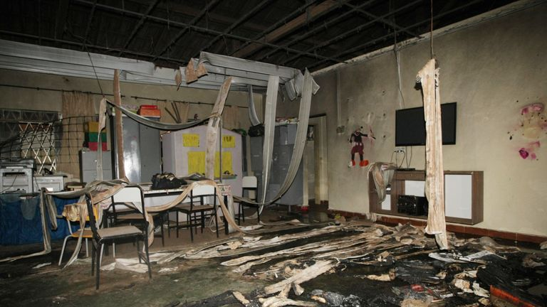 View inside the municipal daycare centre where a watchman sprayed children with alcohol and set them on fire in Janauba, Minas Gerais State, on October 5, 2017