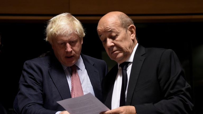 Boris Johnson with French Foreign Secretary Jean-Yves Le Drian