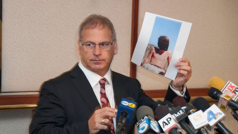 Lawyer Jeff Herman at a press conference in 2014 regarding allegations against Bryan Singer
