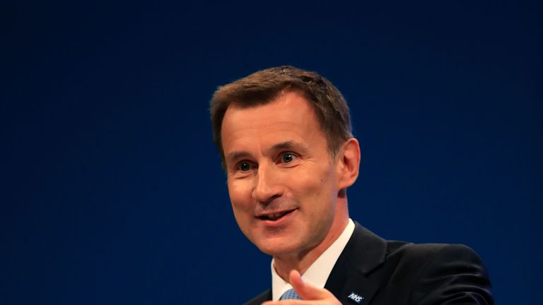 Jeremy Hunt addresses the Tory party conference