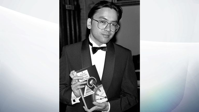 Kazuo Ishiguro with his book Remains Of The Day