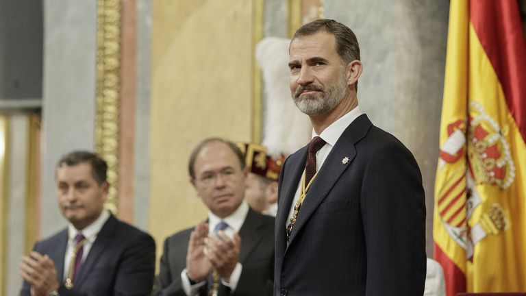 King Felipe VI of Spain attends the solemn opening of the twelfth legislature at the Spanish Parliament