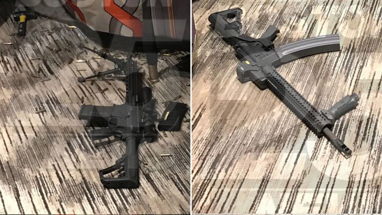 Two of the arsenal of weapons found inside Paddock's room. Pic: Fox25Boston