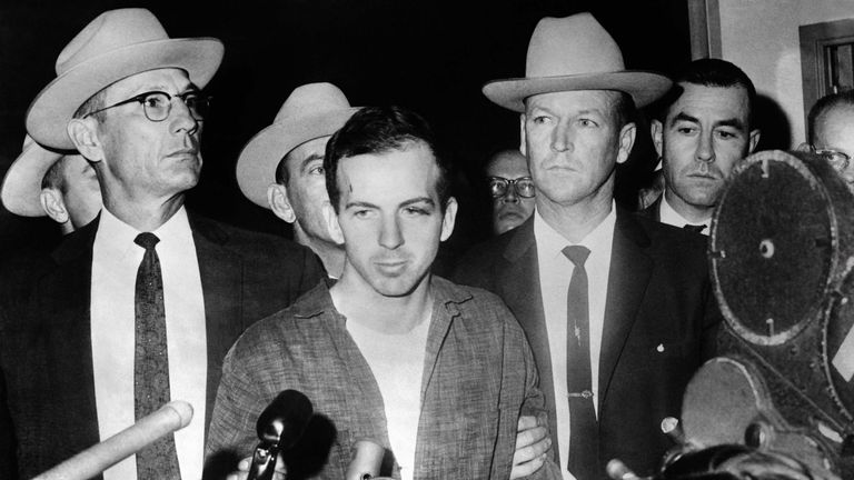 President John F. Kennedy's murderer Lee Harvey Oswald during a press conference after his arrest