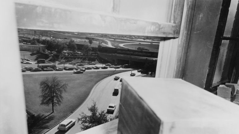 The view from the Texas School Book Depository in Dallas, where Lee Harvey Oswald assassinated John F. Kennedy
