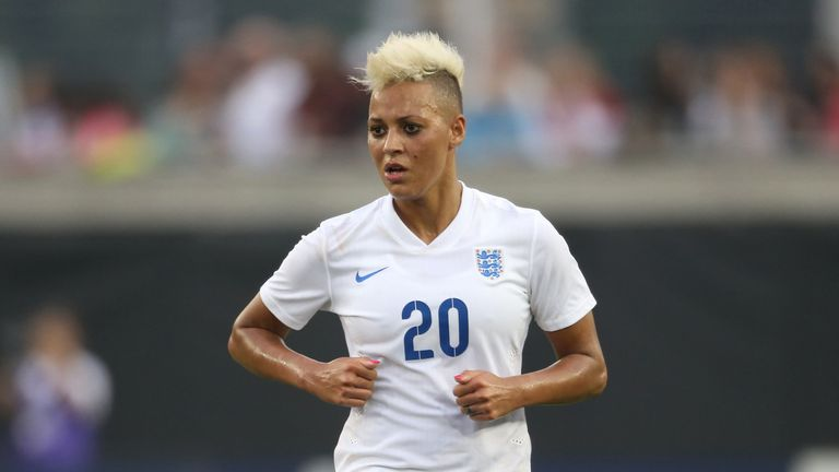 Lianne Sanderson during a 2015 England match against Canada