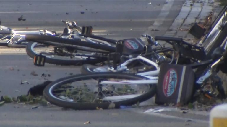 A truck is reported to have ploughed into cyclists on a cycle path