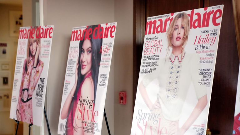 LOS ANGELES, CALIFORNIA - APRIL 11: A view of the Marie Claire covers at the 'Fresh Faces' party, hosted by Marie Claire, celebrating the May issue cver stars on April 11, 2016 in Los Angeles, California.