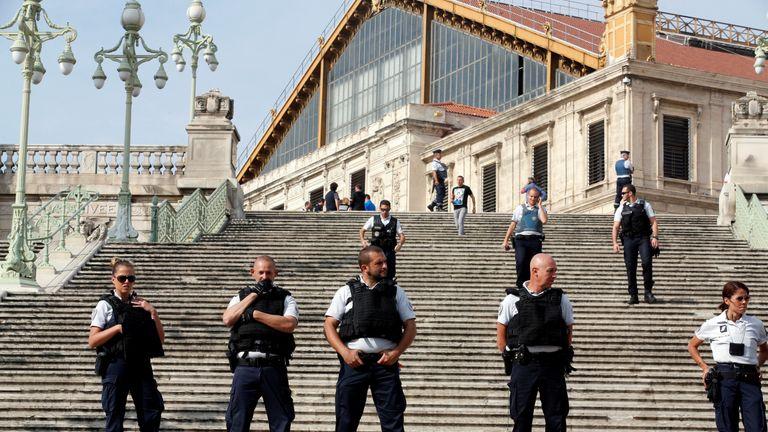 Police guard the scene