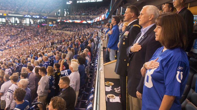 Mike Pence pictured during the national anthem