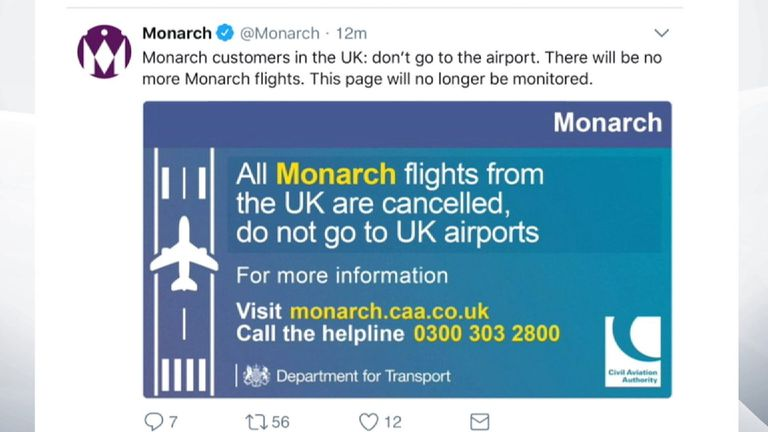Monarch says it has all the latest information for customers on its website