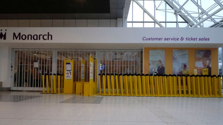 A Monarch customer service office is closed after the airline ceased trading, at Manchester airport in Britain, October 2, 2017.