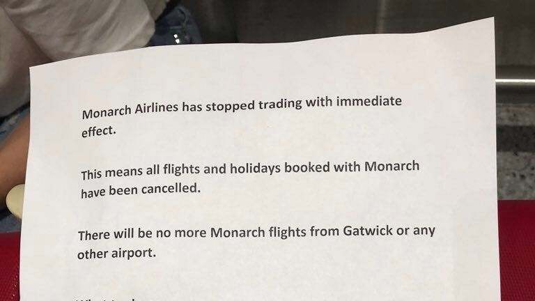A notice handed out to passengers at Gatwick airport